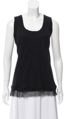 Elizabeth and James Silk-Accented Sleeveless Top