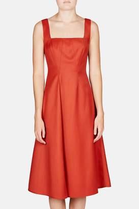 Lorod Pinafore Seamed Flare Dress - Rust