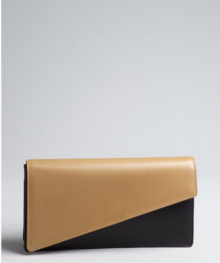 Saint Laurent Khaki And Black Leather Fold-Over Clutch