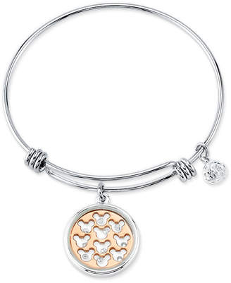 Disney Two-tone Crystal Mickey Mouse Glass Shaker Adjustable Bangle Bracelet in Stainless Steel for Unwritten