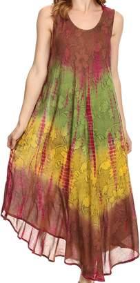 Sakkas 10831 Ombre Floral Tie Dye Tank Sheath Caftan Cotton Dress - /