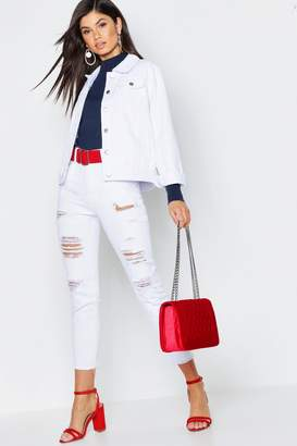 boohoo White Distressed Mom Jeans
