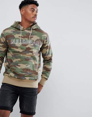 Pull&Bear hoodie in camo with logo