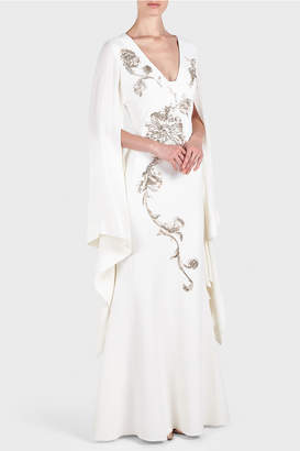 Antonio Berardi Marilena Embroidered Cape Dress