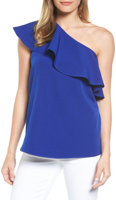Pleione One-Shoulder Ruffle Top (Petite) $69 thestylecure.com