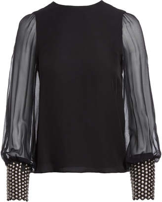 Alice + Olivia VIX CRYSTAL EMBELLISHED CUFF TOP