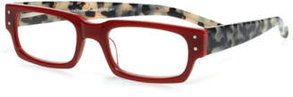 Eyebobs Peckerhead Rectangular Two-Tone Readers, Red/Tortoise