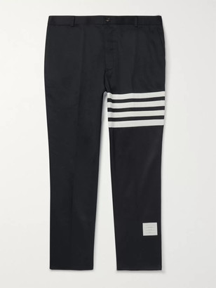 Thom Browne Navy Slim-Fit Cropped Striped Cotton-Twill Trousers - Men - Blue
