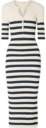 Sunday Striped Ribbed Stretch-knit Midi Dress - Navy