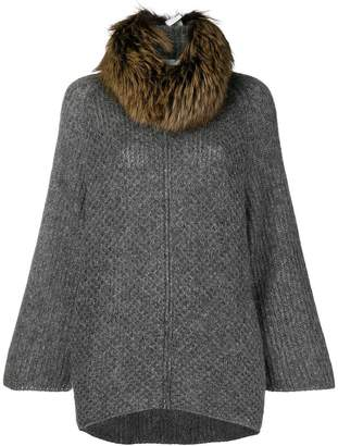 Fabiana Filippi fur collar knitted coat