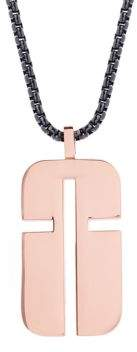 Steve Madden Stainless Steel Cross Cutout Dog Tag Necklace