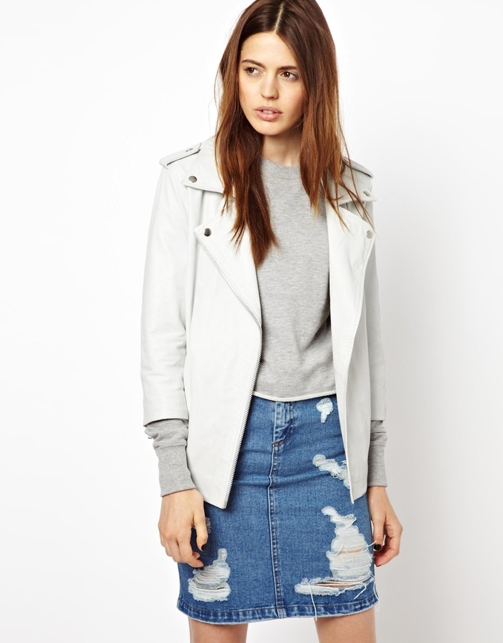 HIDE Josepha Long Line Leather Biker Jacket in White