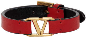 Valentino Red and Black Garavani VLogo Bracelet