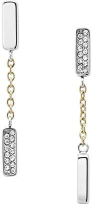 Fossil Two-Tone Stainless Steel Chain And Glitz Studs jewelry