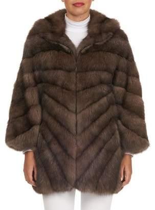 Tsoukas Russian Sable-Fur Stroller Coat