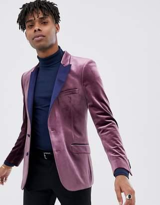 Asos Design DESIGN skinny tuxedo blazer in wine velvet