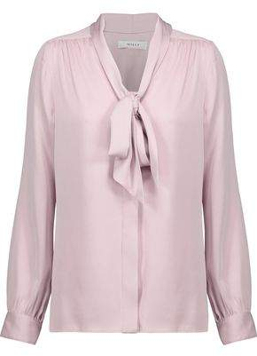 Milly Pussy-Bow Gathered Silk-Blend Cady Blouse