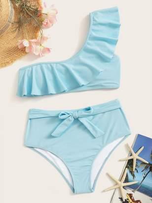 a5035bc748a Shein Ruffle One Shoulder Top With High Waist Bikini Set