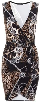 Quiz Black Multi Scarf Print Wrap Front Dress