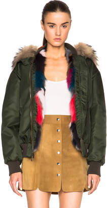Mr & Mrs Italy Bomber Jacket with Fox & Raccoon Fur