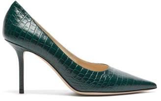 Jimmy Choo Love 85 Crocodile Embossed Leather Pumps - Womens - Dark Green