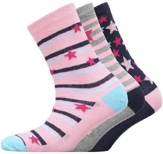 Board Angels Girls Three Pack Socks Pink/Blue/Grey