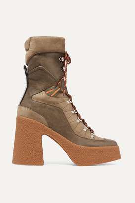 Stella McCartney Lace-up Faux Leather, Faux Suede And Canvas Platform Boots - Army green