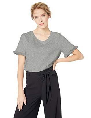 Serene Bohemian Women's Round Neck Frilled Half Sleeve 100% Cotton Jersey T-Shirt (