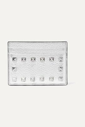Valentino Garavani The Rockstud Metallic Textured-leather Cardholder - Silver