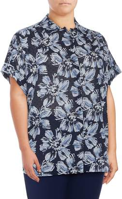 Lafayette 148 New York Women's Plus Irina Floral Cotton Blouse - Ink, Size 1x (14-16)