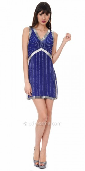 Phoebe Couture Shimmering Linear Cocktail Dress