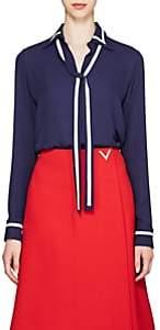 Valentino Women's Silk Crepe Tieneck Blouse - Navy