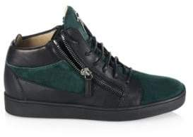 Giuseppe Zanotti Double-Zip Leather & Suede Mid-Top Sneakers