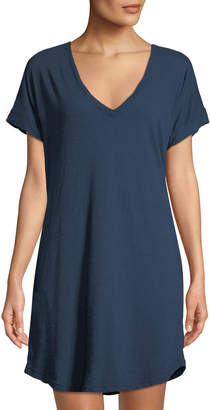 Allen Allen Cotton V-Neck T-Body Dress w/ Pockets