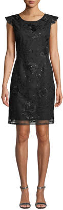 Nanette Lepore Nanette Floral Embroidered V-Back Sheath Dress