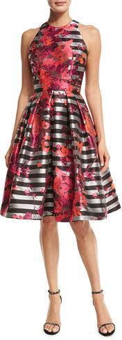 Carmen Marc ValvoCarmen Marc Valvo Sleeveless Striped Fit-and-Flare Dress, Multicolor