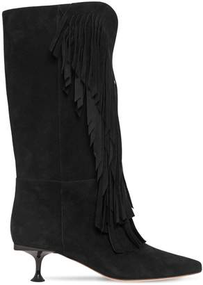 Sergio Rossi 50MM SR MILANO TALL SUEDE BOOTS W/FRINGE