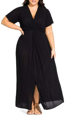 City Chic Knot Front Maxi Dress