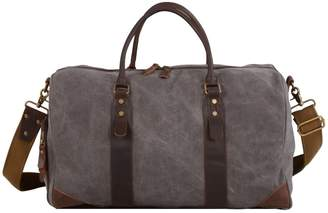 EAZO - Canvas & Leather Kit Gym Bag In Grey