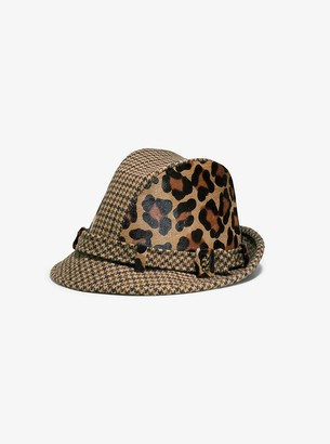 Michael Kors Houndstooth and Leopard Hat