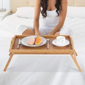 EECOO Portable Bamboo Wood Bed Tray Wood Breakfast Serving Tray Laptop Desk Tea with Folding Legs