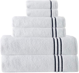 Enchante Set Of 6 Broderie Navy Stripe Towel Set