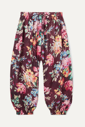 Zimmermann Kids - Allia Floral-print Cotton-voile Pants - Burgundy