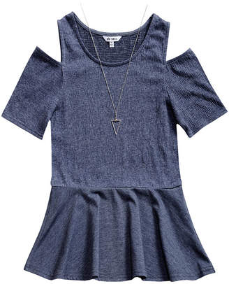 OBSESS Obsess Round Neck Short Sleeve Cold Shoulder Sleeve Blouse - Big Kid Girls