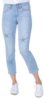 NYDJ Sheri Laser-Cut Star Ankle Jeans in Clean Cloud Nine