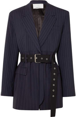 3.1 Phillip Lim Oversized Belted Pinstriped Wool-blend Blazer - Navy