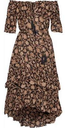 Zimmermann Tulsi Off-The-Shoulder Tiered Floral-Print Gauze Midi Dress