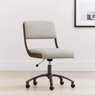 Pottery Barn Teen Boucle Twill Gravel with Bronze Base Boomerang Desk Chair
