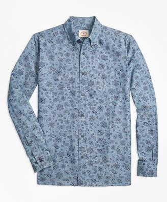 Brooks Brothers Paisley-Print Cotton Chambray Sport Shirt