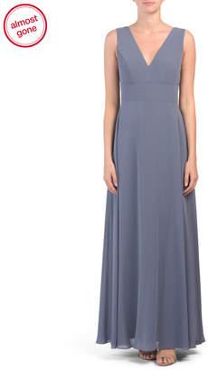 V-neck Matte Chiffon Gown